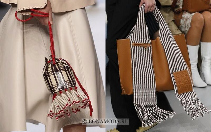 Модные женские сумки весна-лето 2018 - бежевые в клетку и полоску с бахромой