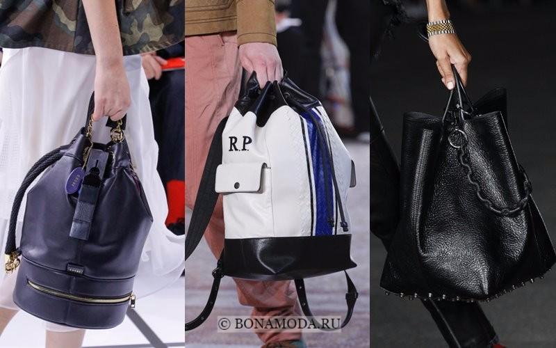 Модные женские сумки весна-лето 2018 - кожаные вертикальные модели-ведра