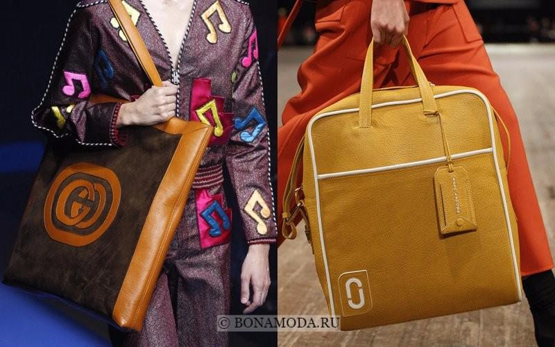 Модные женские сумки весна-лето 2018 - коричнево-бежевые замшевые вертикальные модели шоппер