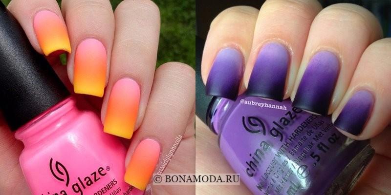 Модный маникюр 2018: тенденции - длинные квадратные ногти с эффектом омбре в оранжевом и фиолетовом