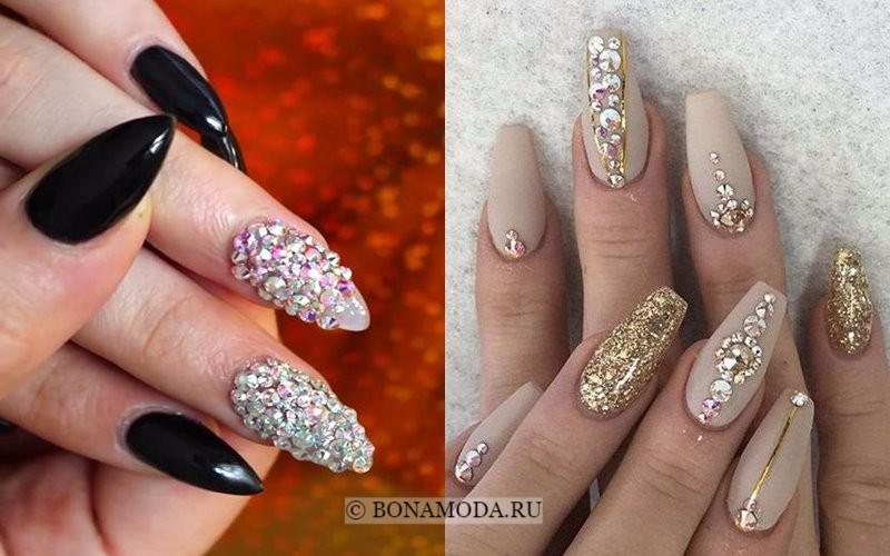 Модный маникюр 2018: тенденции - длинные ногти с кристаллами