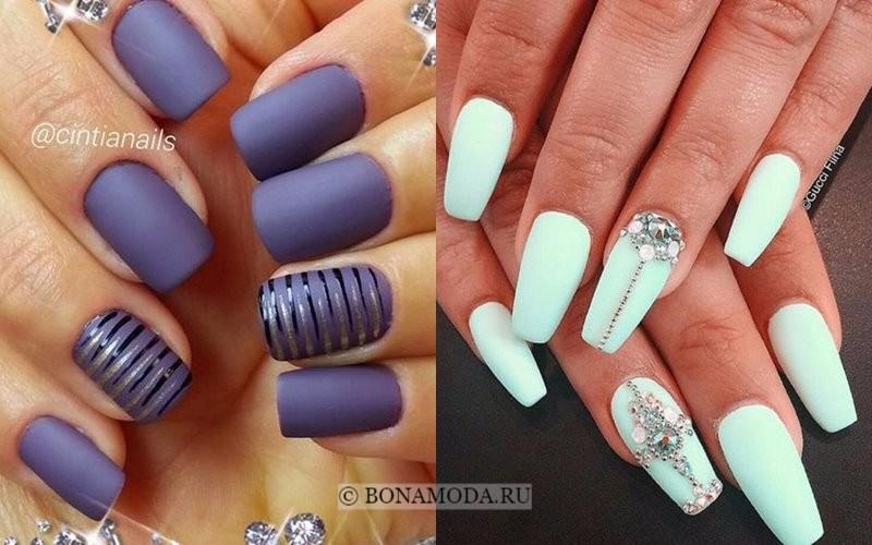 Модный маникюр 2018: тенденции - фиолетовые и мятные матовые ногти с полосками и стразами