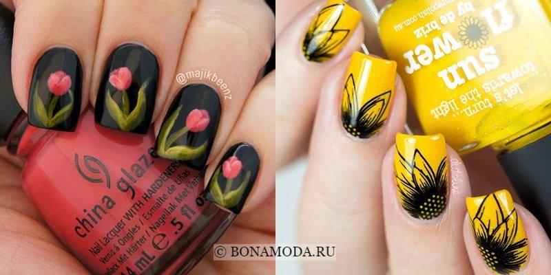 Модный маникюр 2018: тенденции - черные ногти с тюльпанами и желтые с подсолнухами