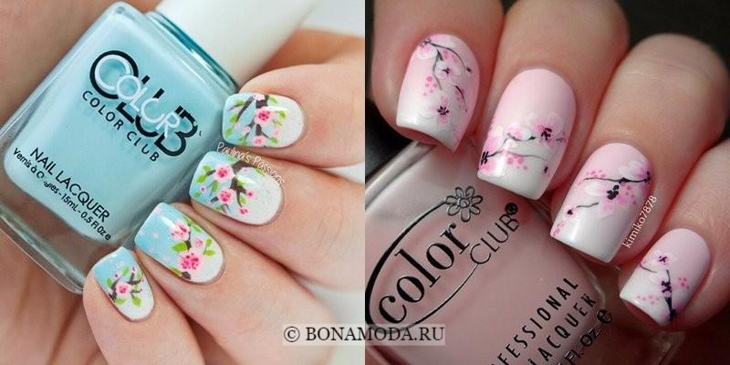 Модный маникюр 2018: тенденции - голубые и розовые ногти с цветочными узорами
