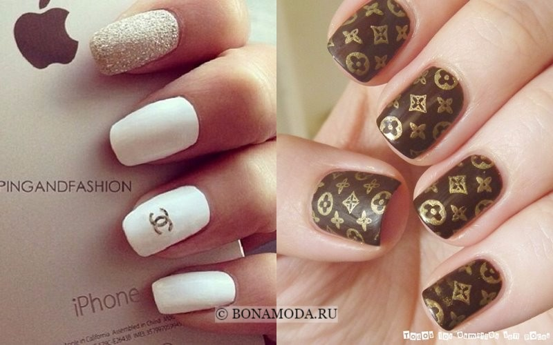 Модный маникюр 2018: тенденции - ногти с логотипом chanel и louis vuitton