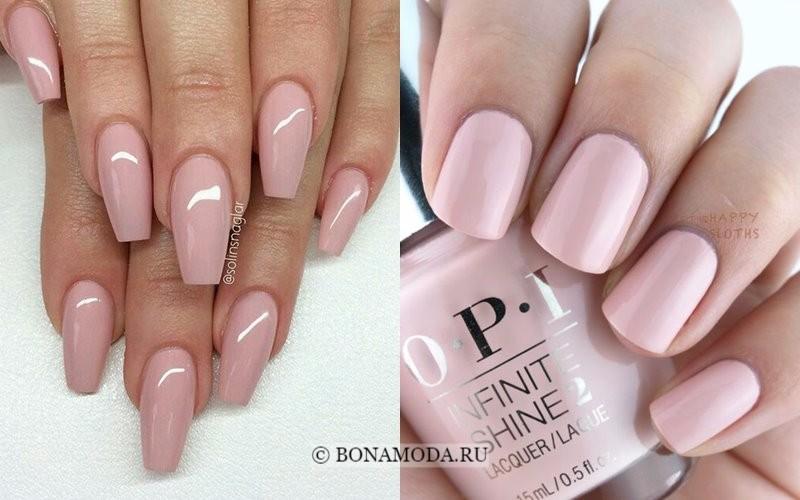Модный маникюр 2018: тенденции - кремово-розовые оттенки нюд