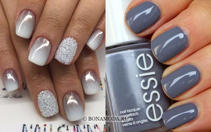 Модный маникюр 2018: тенденции - глянцевый серый лак для ногтей