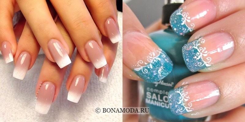 Модный маникюр 2018: тенденции - квадратные ногти с белыми кончиками омбре и бирюзовым френчем