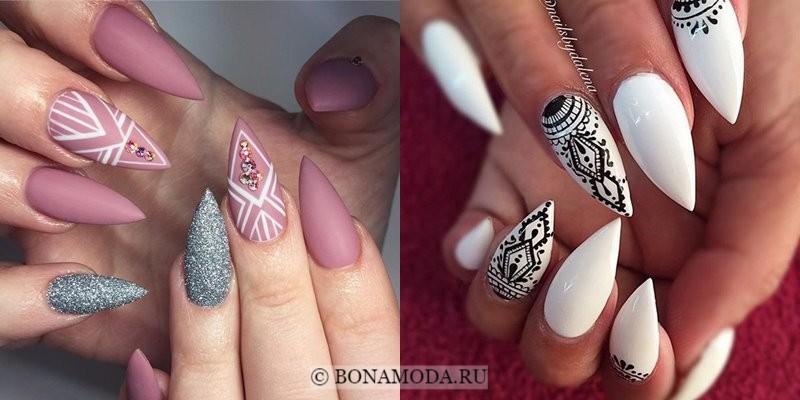 Модный маникюр 2018: тенденции - острые ногти стилеты с узорами