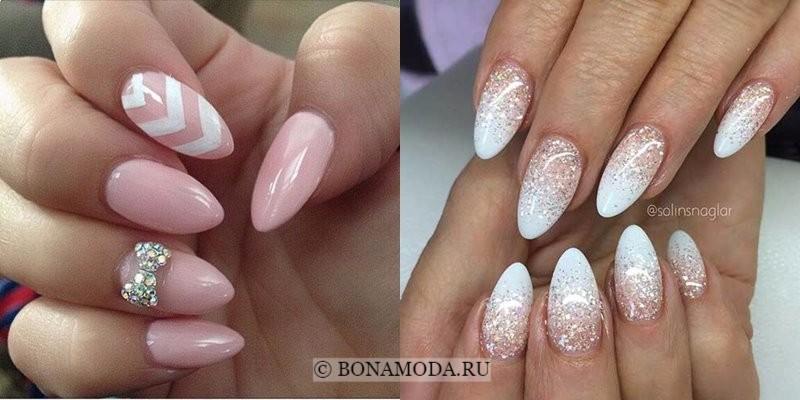 Модный маникюр 2018: тенденции -бело-розовые миндалевидные овальные ногти с блестками