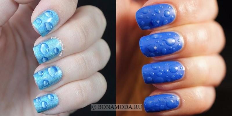Модный маникюр 2018: тенденции - голубой лак для ногтей с каплями
