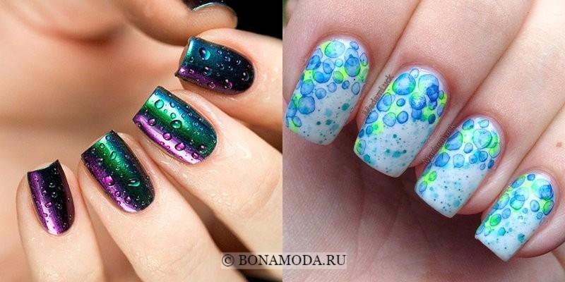Модный маникюр 2018: тенденции - нейл-дизайн с каплями для квадратных ногтей