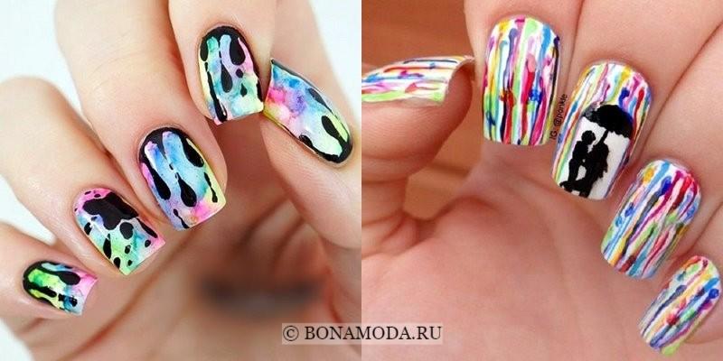 Модный маникюр 2018: тенденции - акварельные узоры для длинных квадратных ногтей