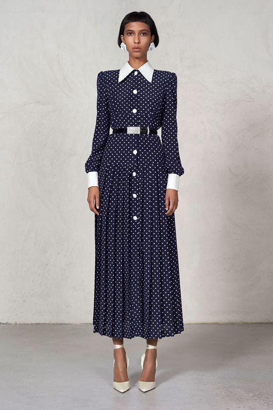 Платья в горошек весна-лето 2018 - ретро-стиль крой рубашка на пуговицах