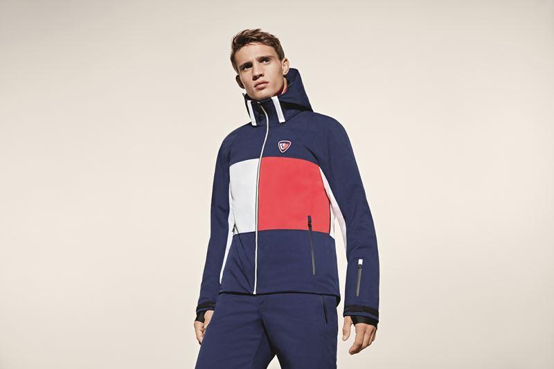 Мужская лыжная капсульная коллекция Tommy Hilfiger и Rossignol - синий костюм с курткой