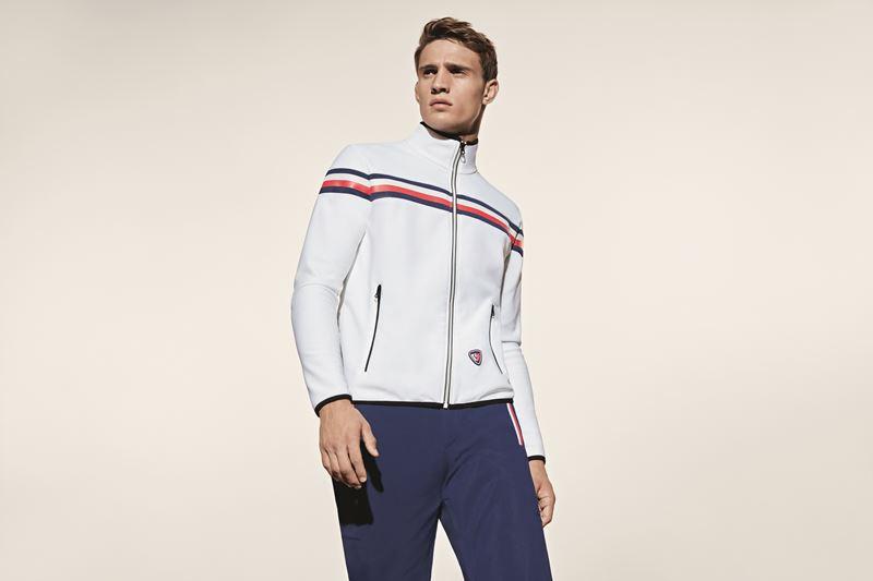 Мужская лыжная капсульная коллекция Tommy Hilfiger и Rossignol - белая куртка с полосками