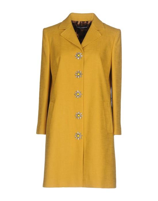 Хлопковое приталенное горчичное пальто Dolce&Gabbana