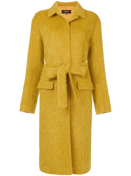 Мохеровое горчичное пальто с поясом Rochas