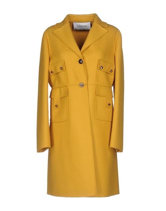 Горчичное пальто из натуральной шерсти с накладными карманами Valentino