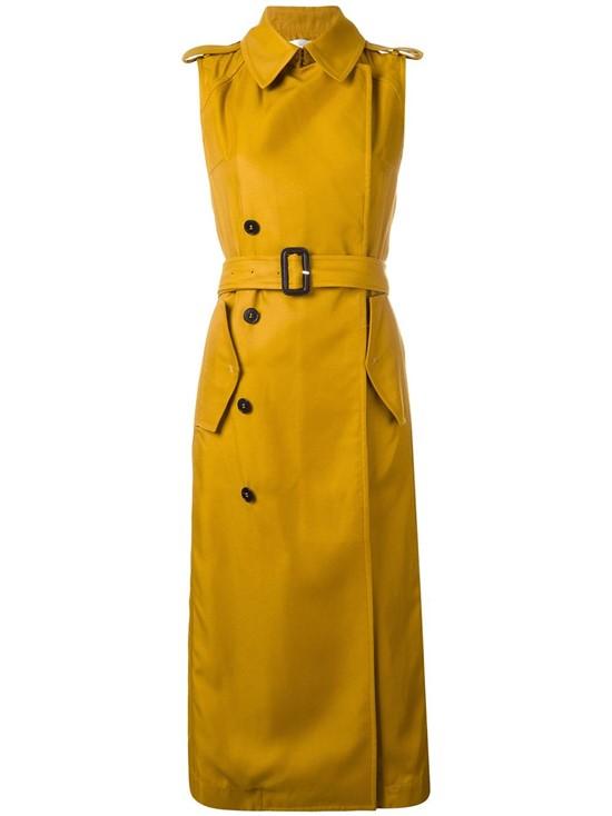 Горчичное пальто-тренч в стиле милитари без рукавов Victoria Beckham