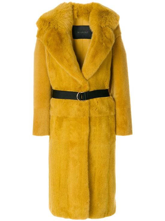 Меховое горчичное пальто с ремешком Blancha