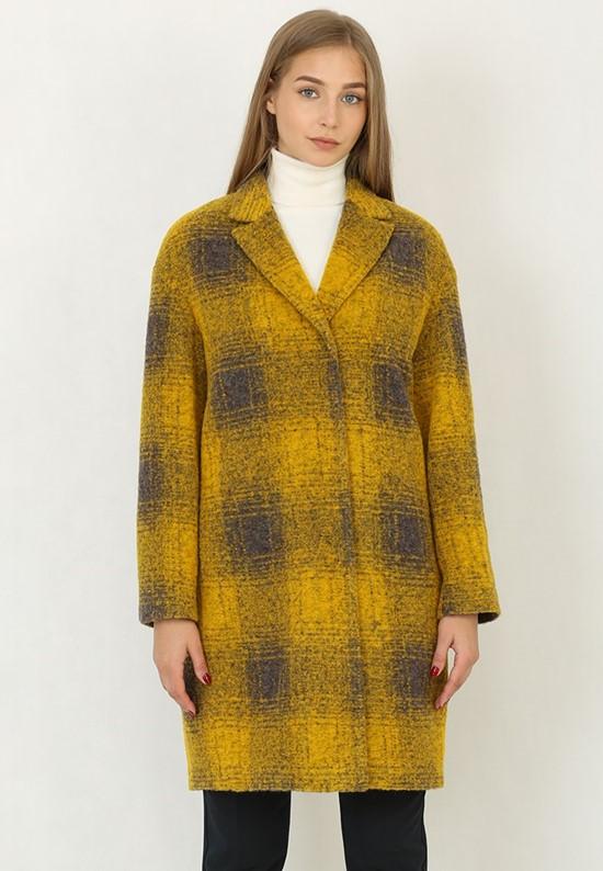 Горчично-серое клетчатое пальто со скрытыми пуговицами Trifo