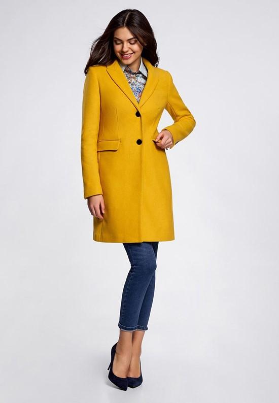 Короткое приталенное горчичное пальто Oodji