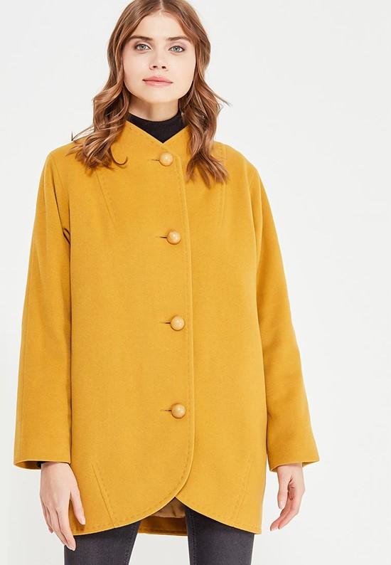 Минималистичное горчичное пальто оверсайз Gamelia
