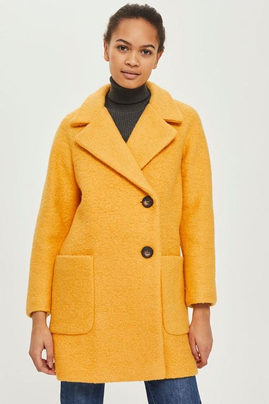 Короткое горчичное пальто-букле в стиле ретро Topshop