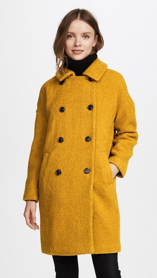 Двубортное горчичное пальто из ткани букле Madewell