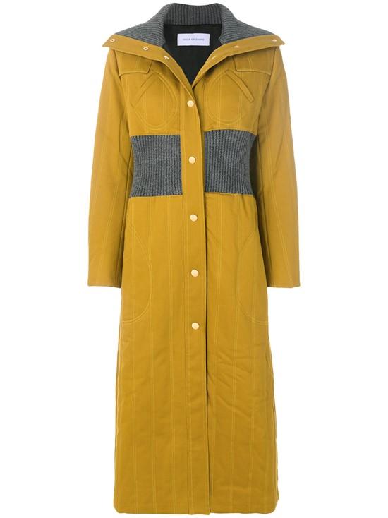 Длинное стёганое горчичное пальто с резинкой на талии Walk Of Shame