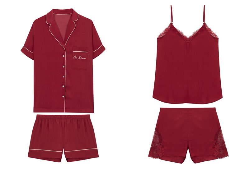 Коллекция нижнего белья Women'secret 2018 - красные шелковые пижамы
