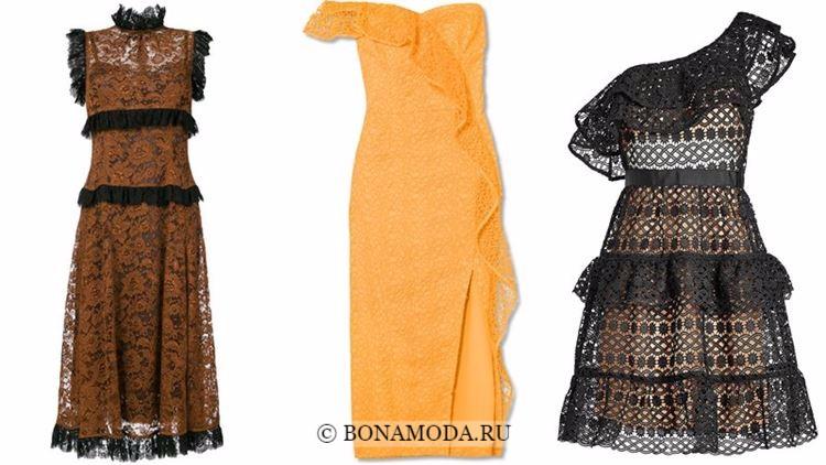 Модные коктейльные платья 2018 - кружевные с короткими рукавами