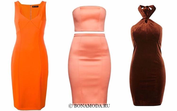 Модные коктейльные платья 2018 - облегающие оранжевые и рыжие без рукавов