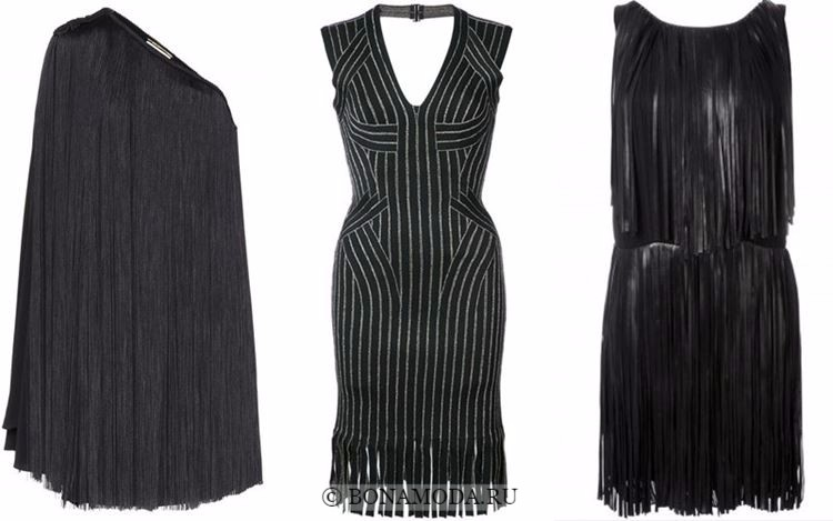 Модные коктейльные платья 2018 - короткие черные с длинной бахромой