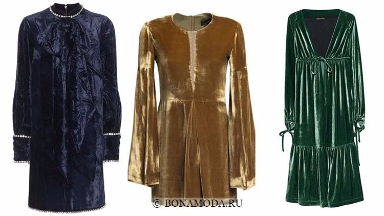Модные коктейльные платья 2018 - бархатные с длинными рукавами