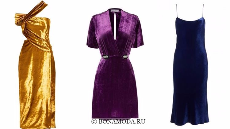 Модные коктейльные платья 2018 - яркие бархатные с короткими рукавами и на бретелях