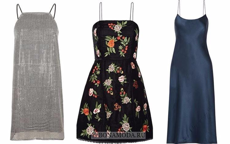 Модные коктейльные платья 2018 - легкие короткие на тонких бретелях