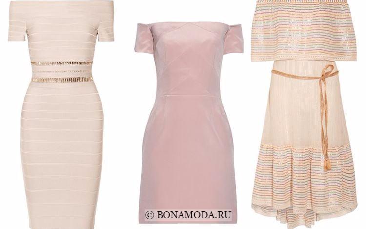Модные коктейльные платья 2018 - приталенные бежевые с открытыми плечами