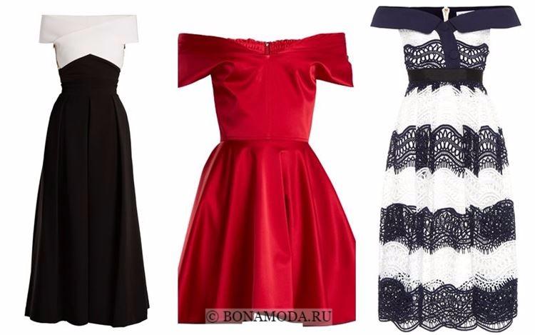 Модные коктейльные платья 2018 - приталенные в ретро-стиле с открытыми плечами