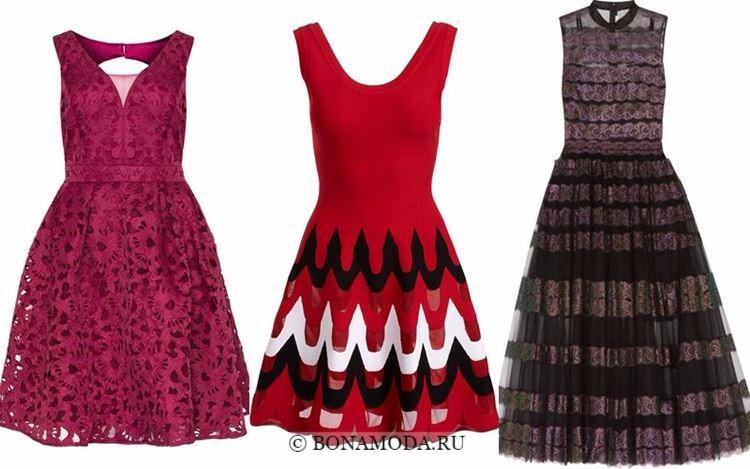 Модные коктейльные платья 2018 - короткие приталенные с пышной юбкой-колокол