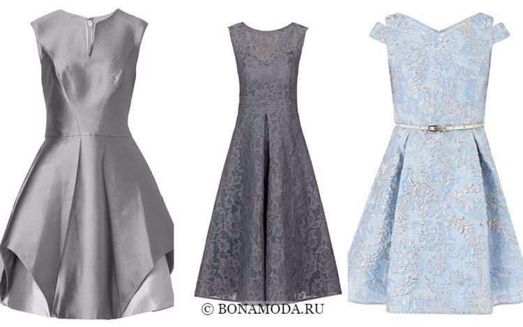 Модные коктейльные платья 2018 - короткие приталенные серые и голубые кружевные