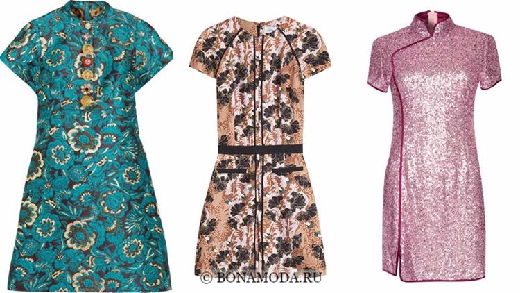 Модные коктейльные платья 2018 - короткие  в китайском стиле с короткими рукавами