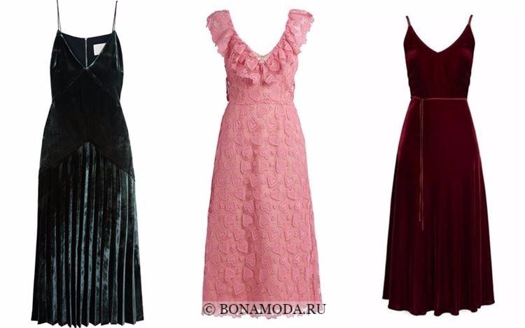 Модные коктейльные платья 2018 - кружевные и бархатные длиной миди