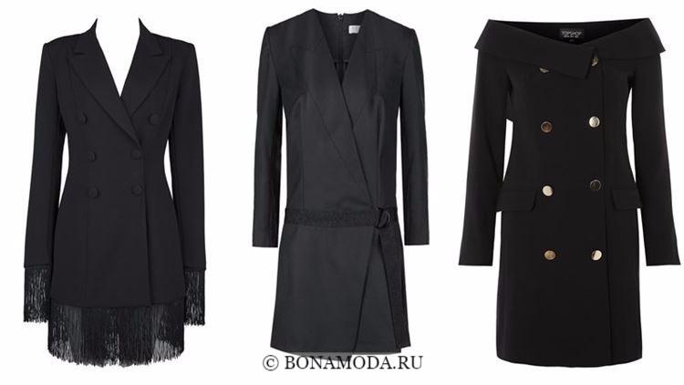 Модные коктейльные платья 2018 - черные платья-блейзеры