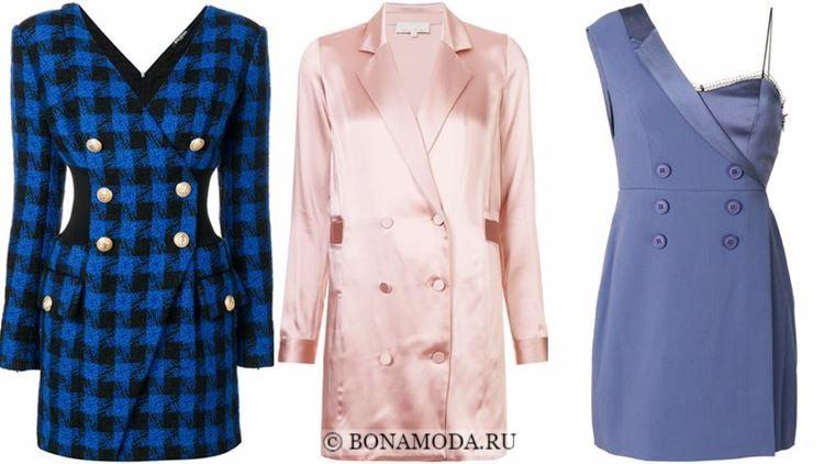 Модные коктейльные платья 2018 - двубортные платья-блейзеры