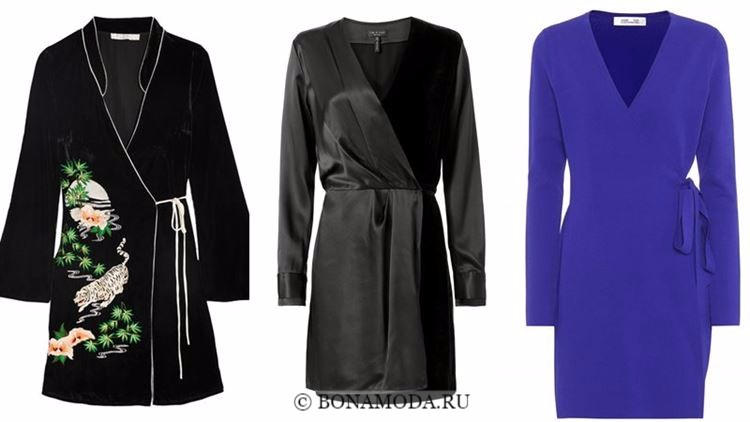 Модные коктейльные платья 2018 - черные и синие платья-халат с запахом и длинным рукавом