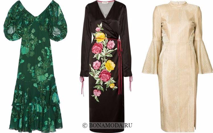 Модные коктейльные платья 2018 - зеленое, черное и золотое ниже колена