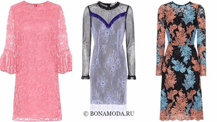Модные коктейльные платья 2018 - кружевные с длинными рукавами