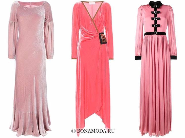Модные вечерние платья 2018 - бархатные розовые с длинными рукавами